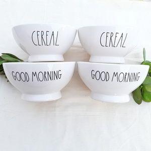 4 NWT Rae Dunn Bowls (Cereal & Good Morning)